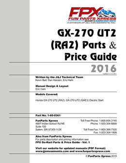 GX270 UT2 PARTS GUIDE 2016