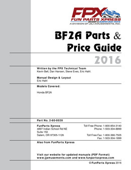 BF2A PARTS GUIDE 2016