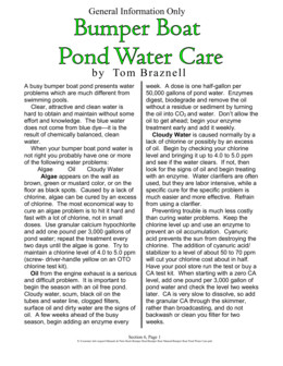Bumper Boat Pond Water Care Combined with Dockrail Info