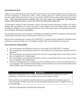 Operating Instructions go kart 2014