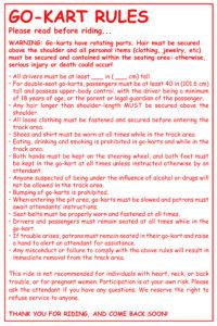 Go Kart Rules