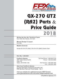 GX270 UT2  Parts Guide 2018