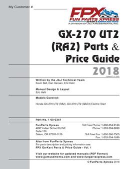 Honda GX270 UT2 Parts Guide 2018