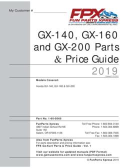 Honda GX140-160-200 Parts Guide 2019